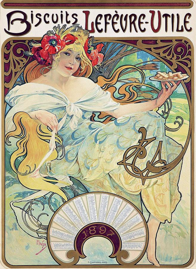 Art Nouveau Style Painting - Biscuits Lefevre Utile 1896 Mucha Art Nouveau Poster by Alphonse Maria Mucha