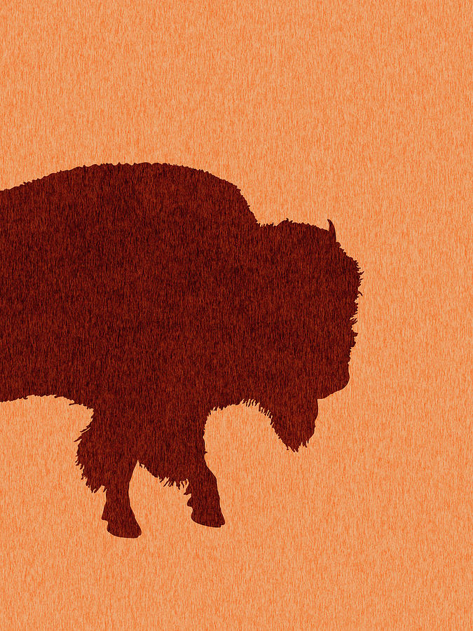 Bison Silhouette - Scandinavian Nursery Decor - Animal Friends - For Kids Room - Minimal Mixed Media