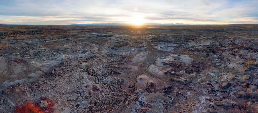 Landscape Photograph - Bisti Badlands Aerial by Aerial Santa Fe