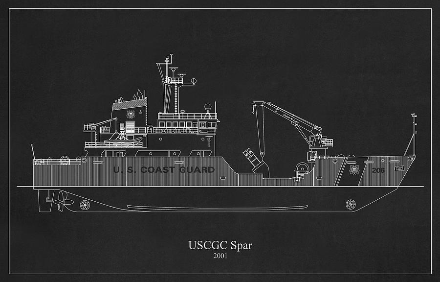 bk03 - United States Coast Guard Cutter Spar wlb-206 by JESP Art and Decor