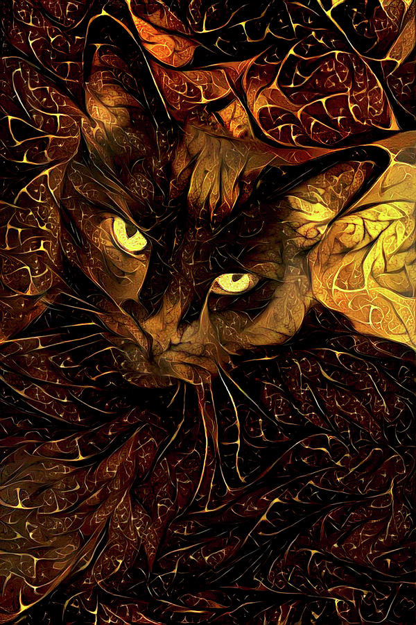 Black and Gold Cat by Peggy Collins