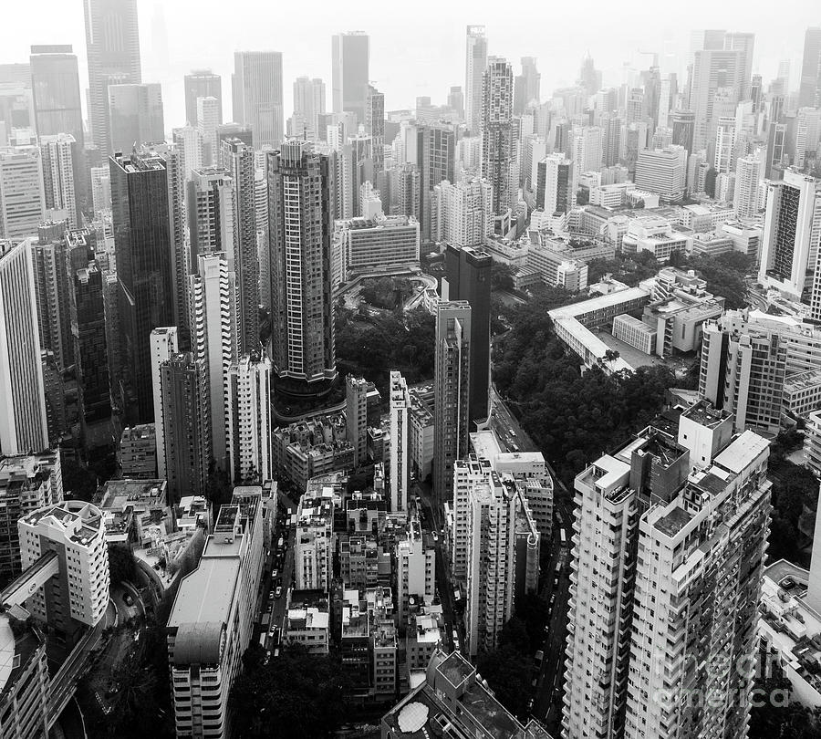 Black and white aerial view of Hong Kong Central business distri by Didier Marti
