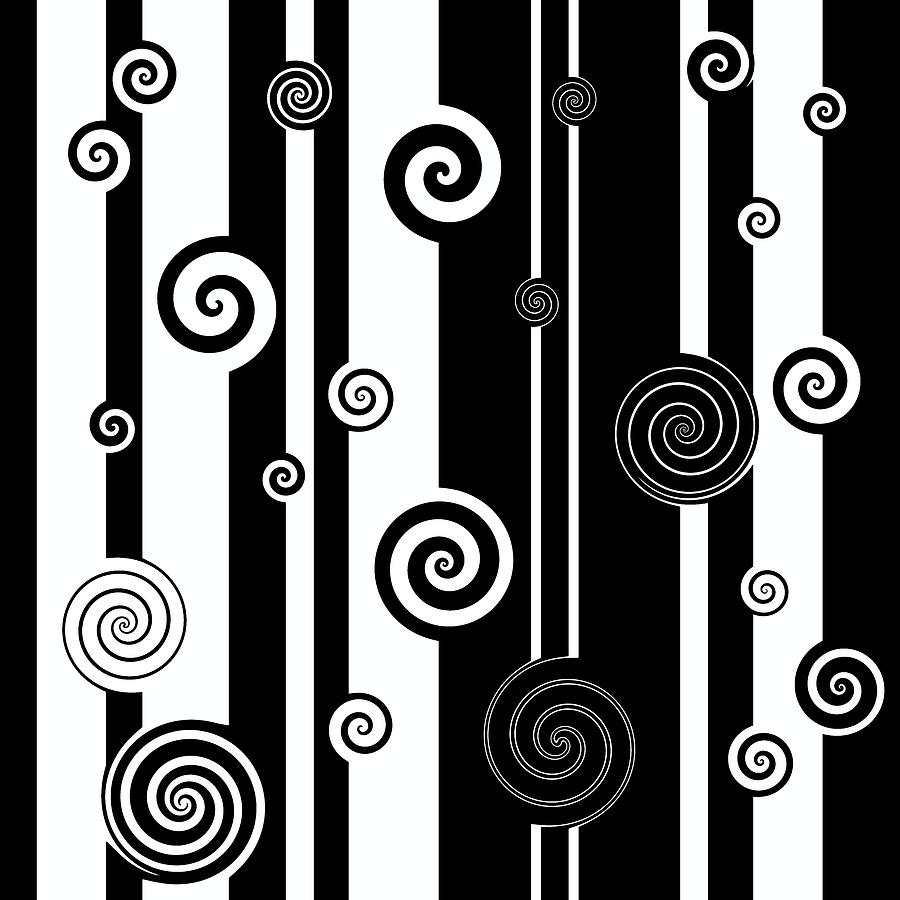 Black and White Asymmetrical Stripes and Twirls by Marianna Mills