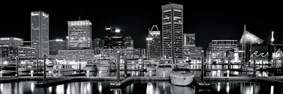 Black And White Buildings And Boats Photograph