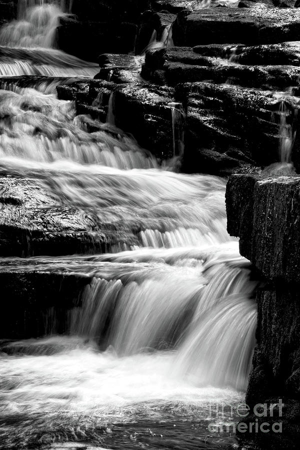 Savage Falls Photograph - Black And White Cascades by Phil Perkins