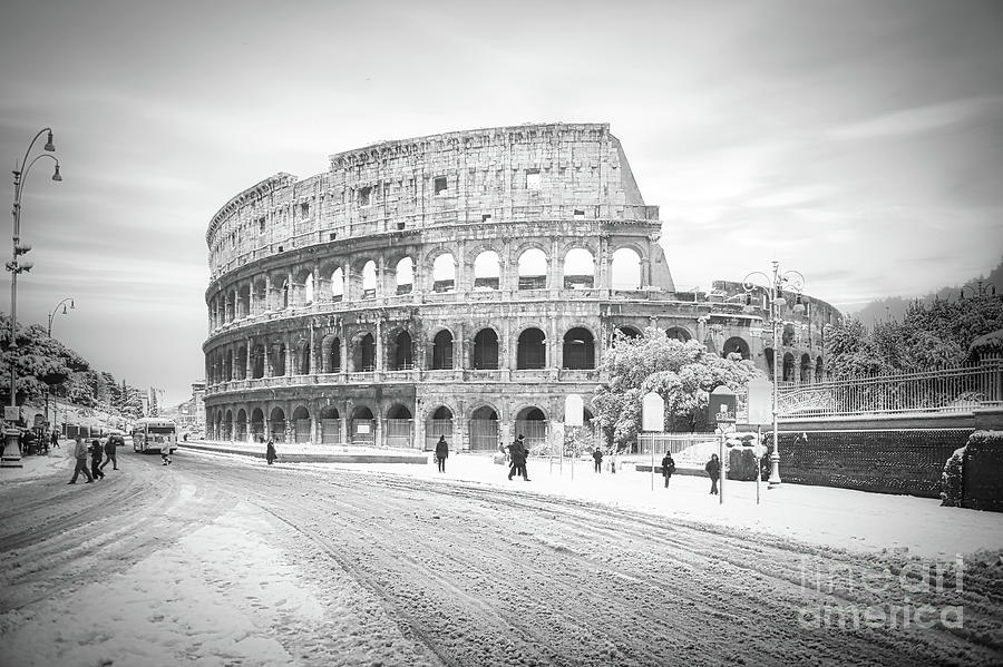 Colosseum Photograph - Black and White Colosseum in Rome covered in rare snowfall by Stefano Senise