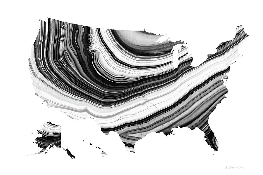 Map Painting - Black And White Map Of The United States of America 25 - Sharon Cummings by Sharon Cummings