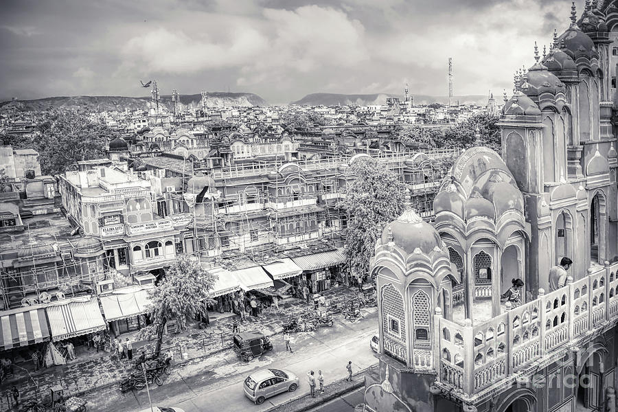 Black And White - Panorama From Hawa Mahal Jaipur Rajasthan India by Stefano Senise