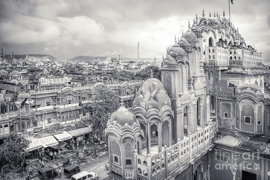 Black and White - Panorama from Palace of Winds Jaipur Rajasthan India by Stefano Senise
