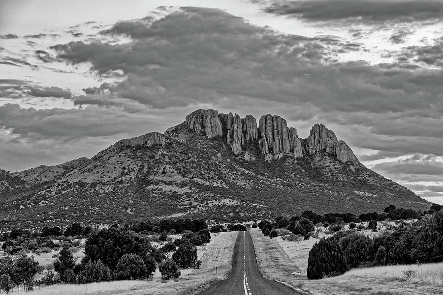 Black And White Photograph Of Sawtooth Mountain - Davis Mountains Scenic Loop Fort Davis West Texas Photograph
