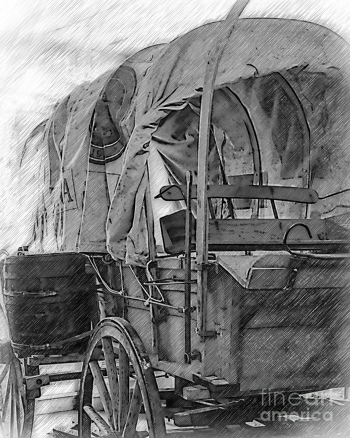 Covered Wagon Digital Art - Black And White Sketched Covered Wagon by Kirt Tisdale