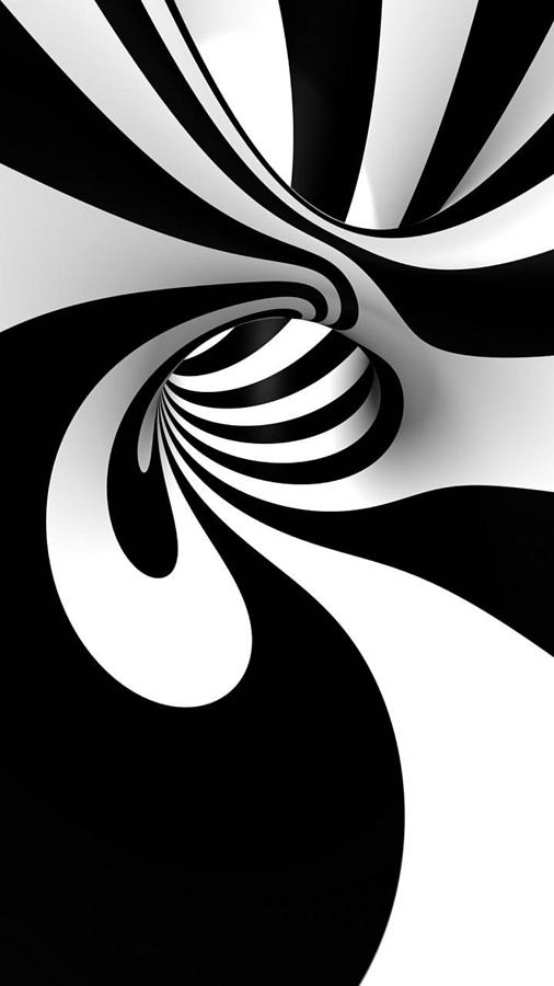 Black And White Spiral Digital Art
