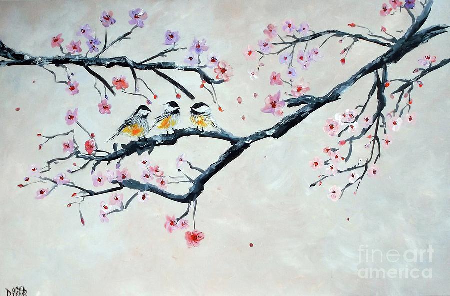 Black Capped Chickadees With Sakura Painting