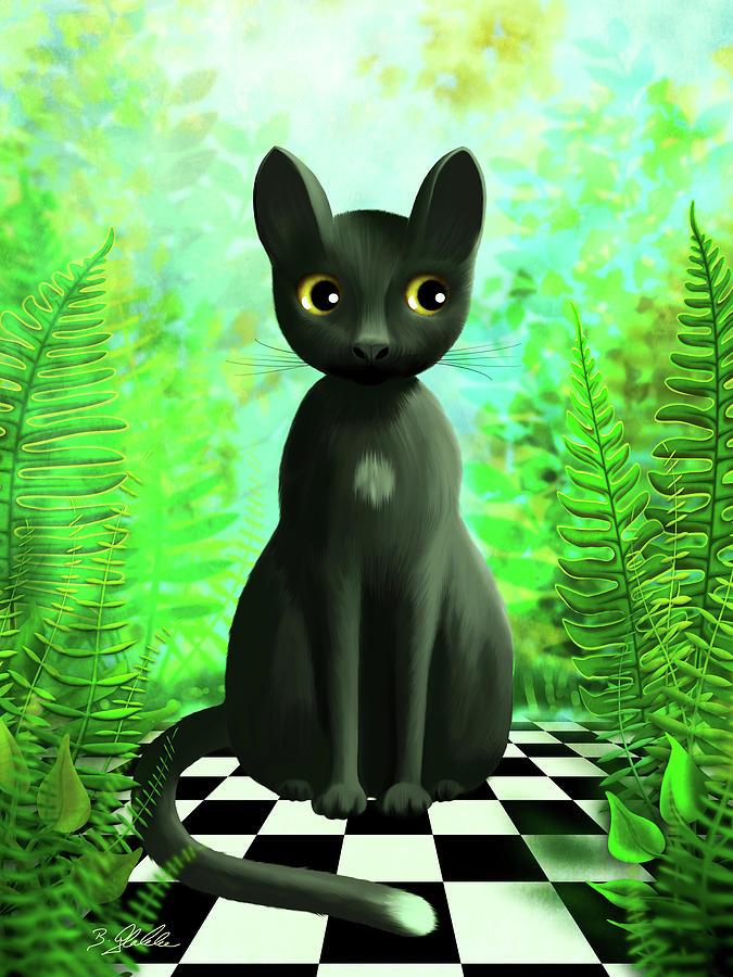 Black Cat In Tropical Garden Painting