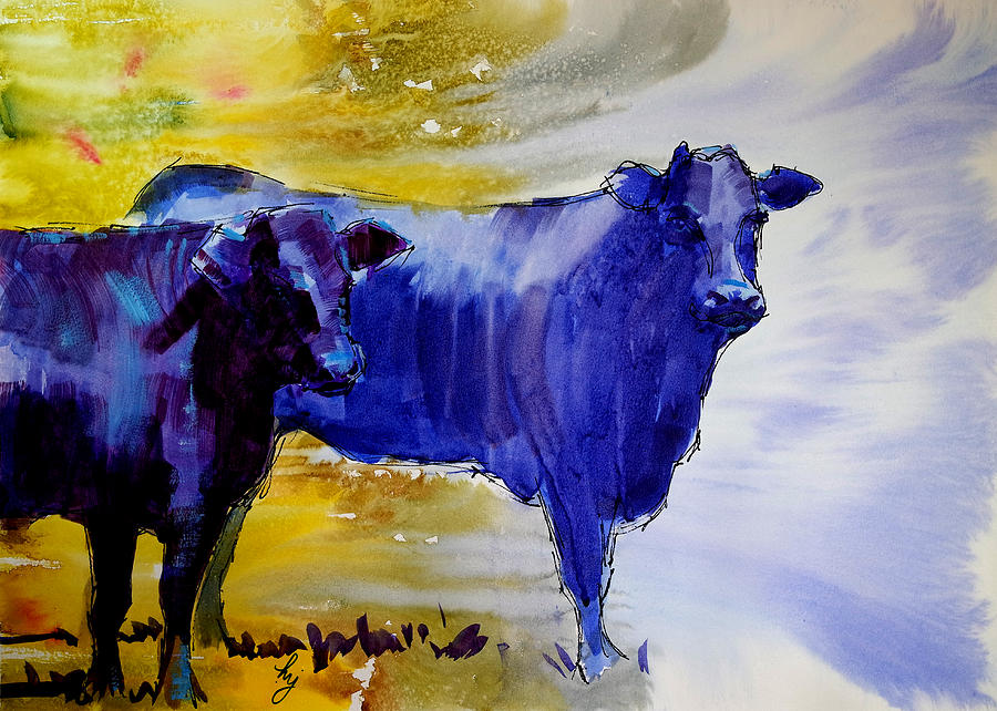 Black Cows Watercolor Painting Painting