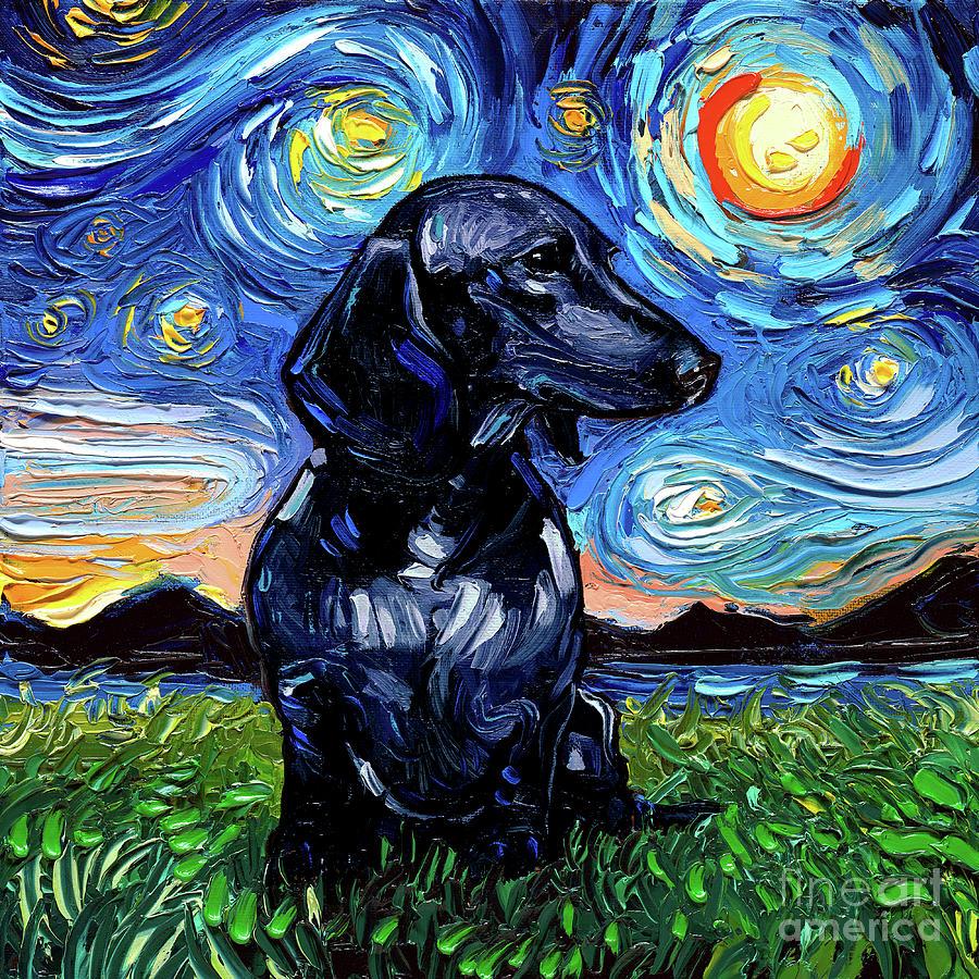Black Dachshund Painting - Black Dacshund by Aja Trier