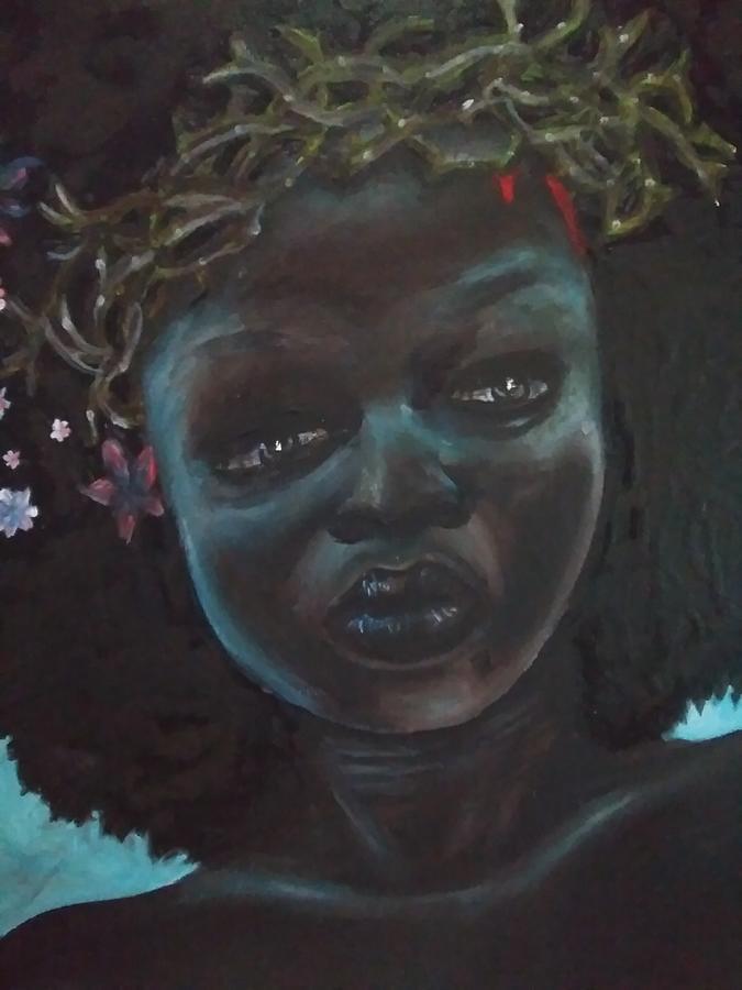Black Woman Painting - Black Diamond by Crystal Guidry