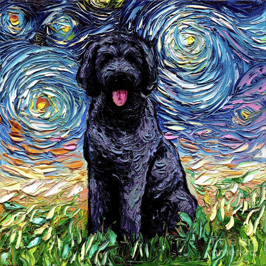 Golden Doodle Painting - Black Goldendoodle by Aja Trier