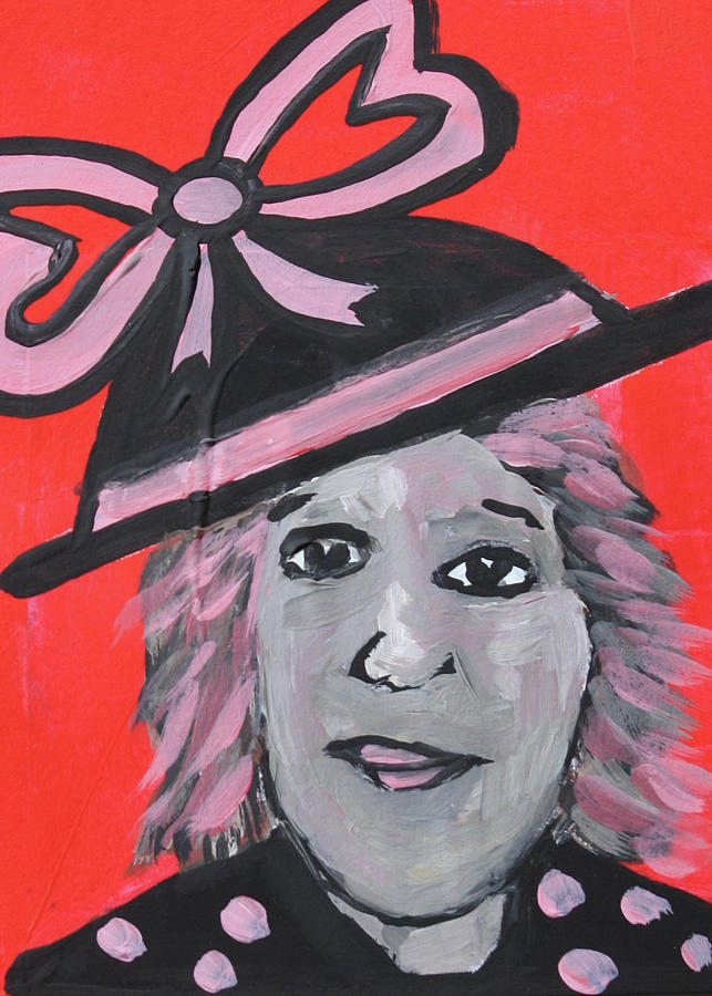 Altered Book Mixed Media - Black Hat with Pink Bow by Janyce Boynton
