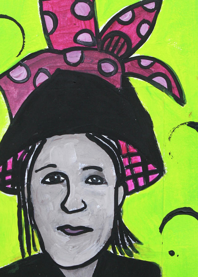 Altered Book Mixed Media - Black Hat with Raspberry Bow by Janyce Boynton