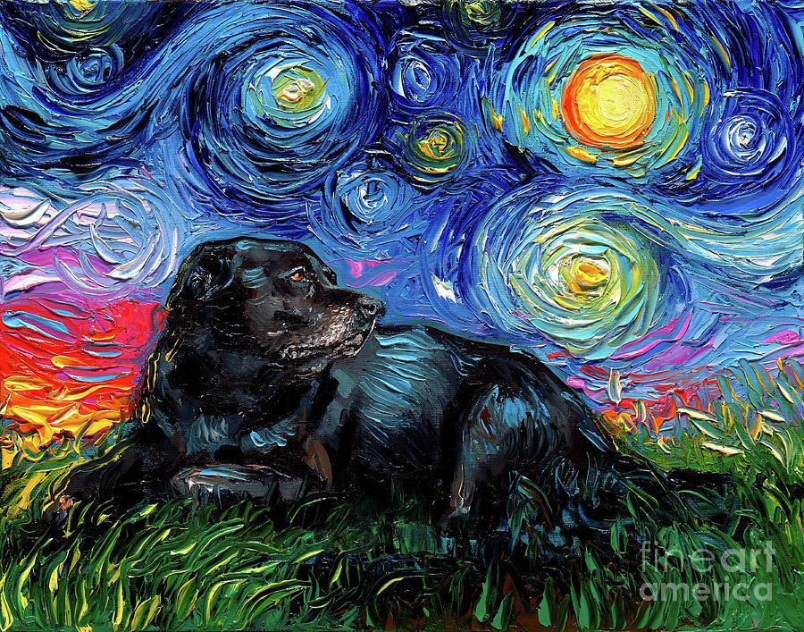 Laying Black Labrador Dog Starry Night Tote bag handbag artwork by Aja black lab lover gift
