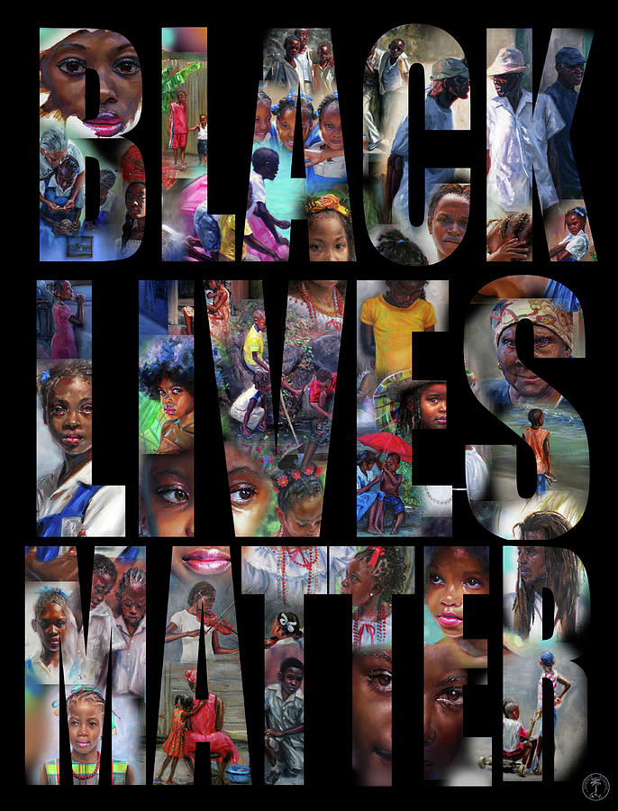 Black Lives Matter Painting - Black Lives Matter- black background by Jonathan Gladding