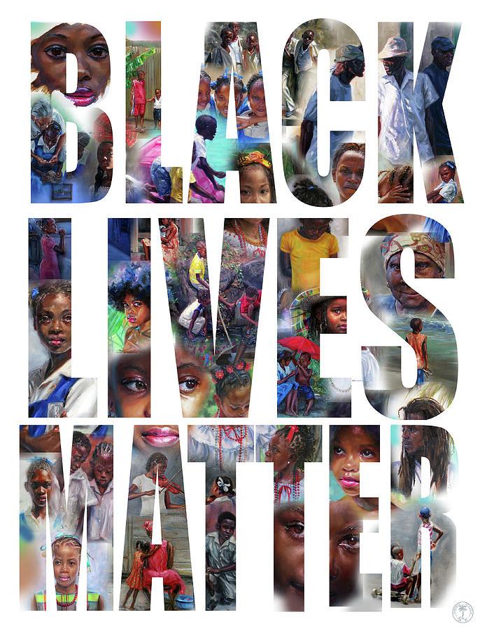 Black Lives Matter Painting - Black Lives Matter- white background by Jonathan Gladding