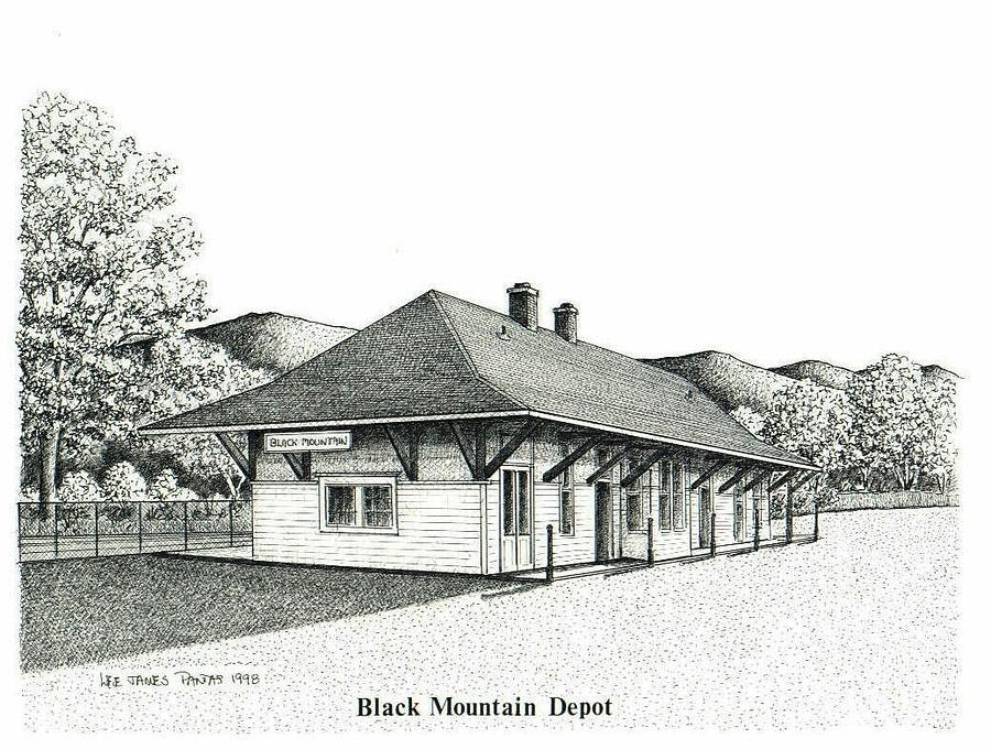 Depot Drawing - Black Mountain Depot by Lee Pantas