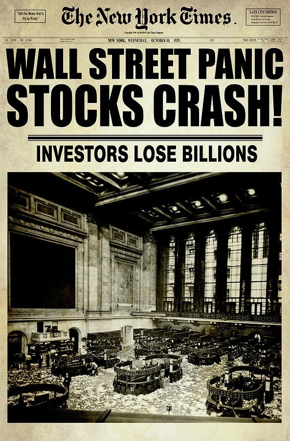 Great Depression Digital Art - Black October Tuesday On Wall Street Aged 1929 by Daniel Hagerman