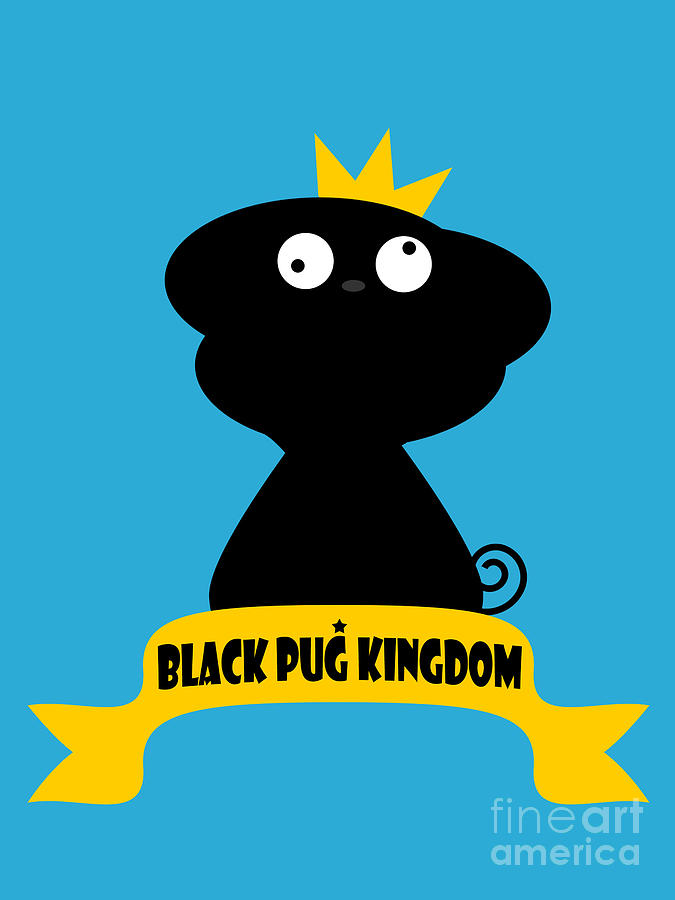 Black Pug Kingdom Digital Art