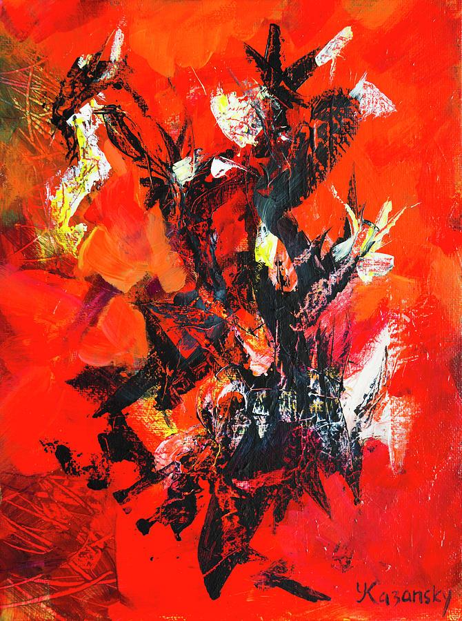 Black Red Abstract by Yulia Kazansky