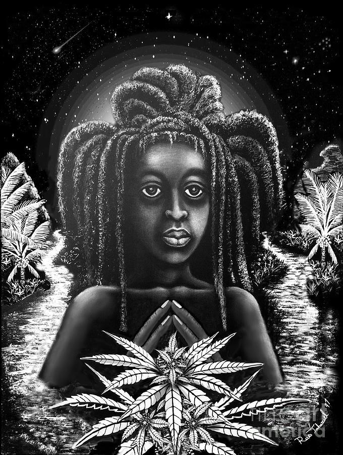 Medical Marijuana Drawing - Black Saints Arise by Ras Jahaziel I Iktor Tafari