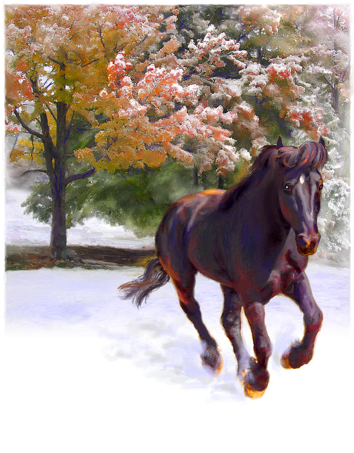 Horse Painting - Black Stallion In Fall Snow Fantasy Art by Connie Moses