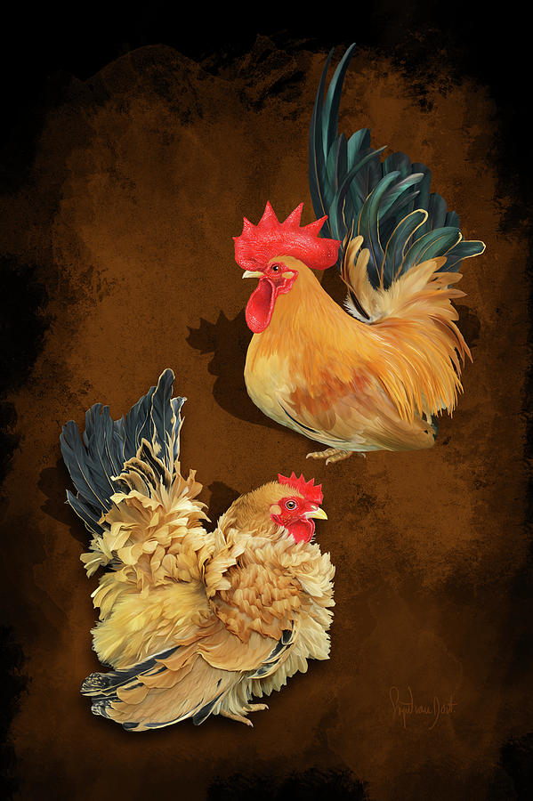 Chickens Digital Art - Black Tailed Buff Frizzle Japanese Bantams Or Chabo by Sigrid Van Dort