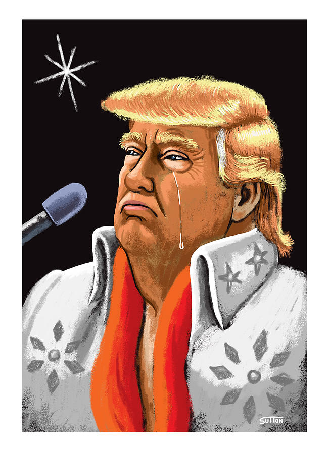 Black Velvet Trump Drawing by Ward Sutton
