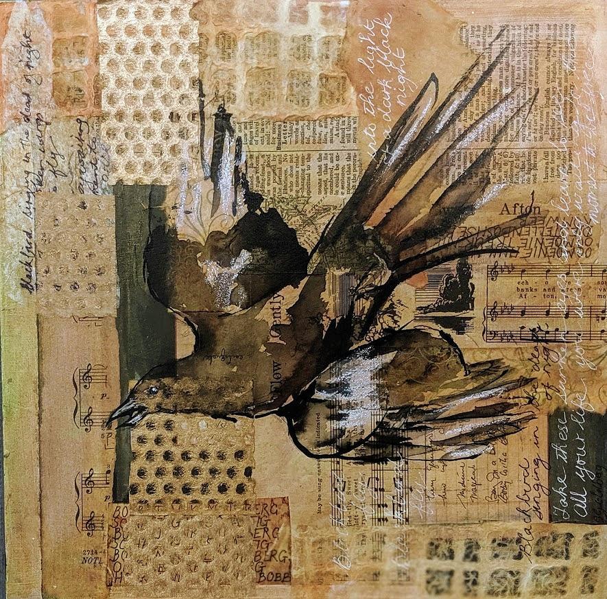 Blackbird in flight by Jillian Goldberg