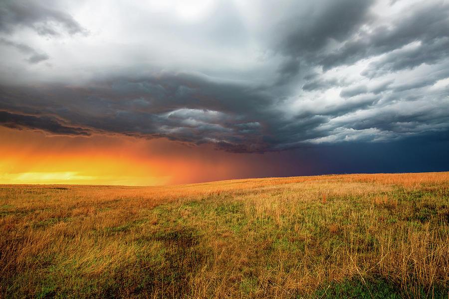 Blanket Of Warm Light - Sunlight Drenches Prairie In Kansas Photograph