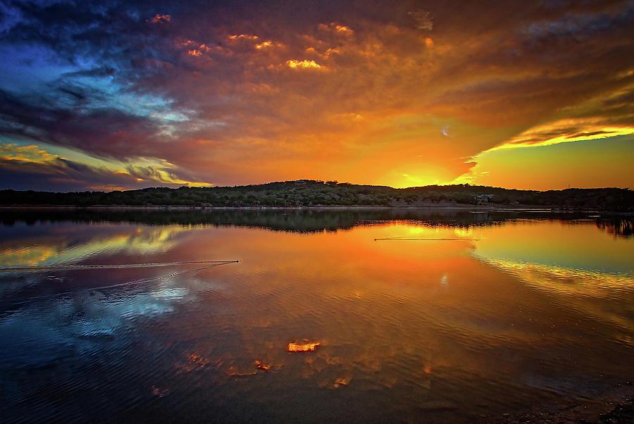 Blazing Skies at Boerne City Lake by Lynn Bauer