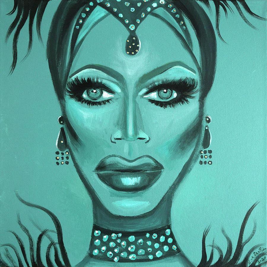 Portrait Painting - BleuPaul by Nick San Pedro