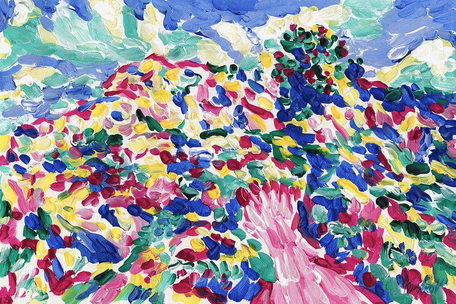 Hill Painting - Blossom Wildflower Meadow On Rolling Hill Painting, Colorful Spring Blossoming Landscape Art by Vitali Komarov