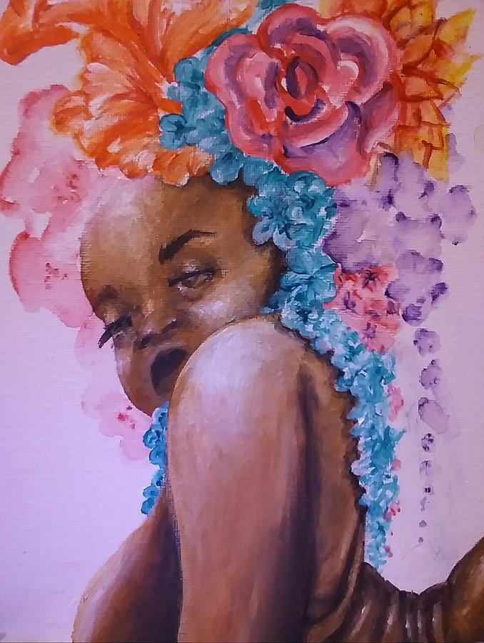 Black Woman Painting - Blossomed by Crystal Guidry