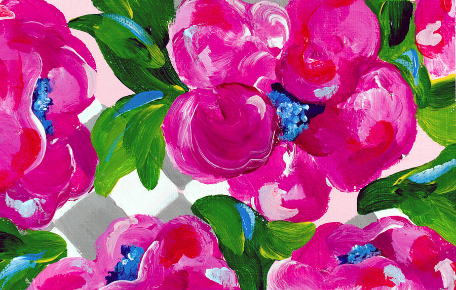 Pink Flowers Painting - Blossoming 1 by Beth Ann Scott