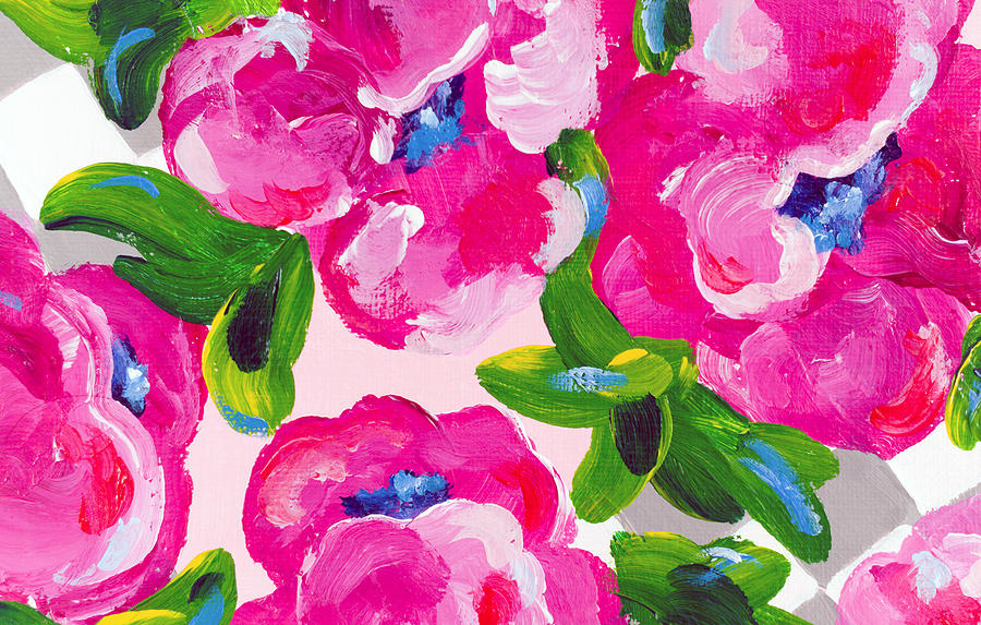 Abstract Flowers Painting - Blossoming 2 by Beth Ann Scott