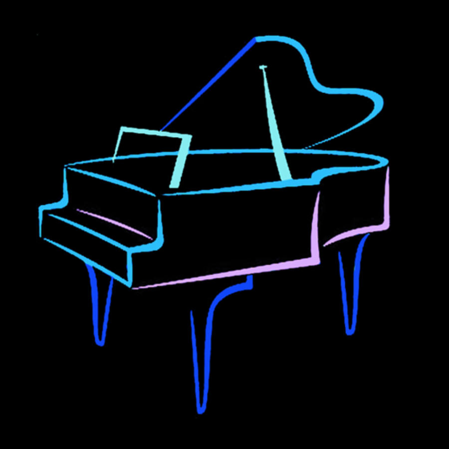 Piano Digital Art - Blue Abstract Piano by Thomas Dans