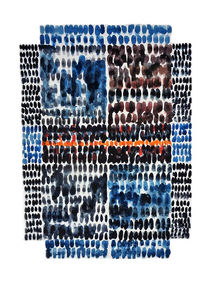 Blue Painting - Blue Abstraction with grid and orange line by Bruce Black