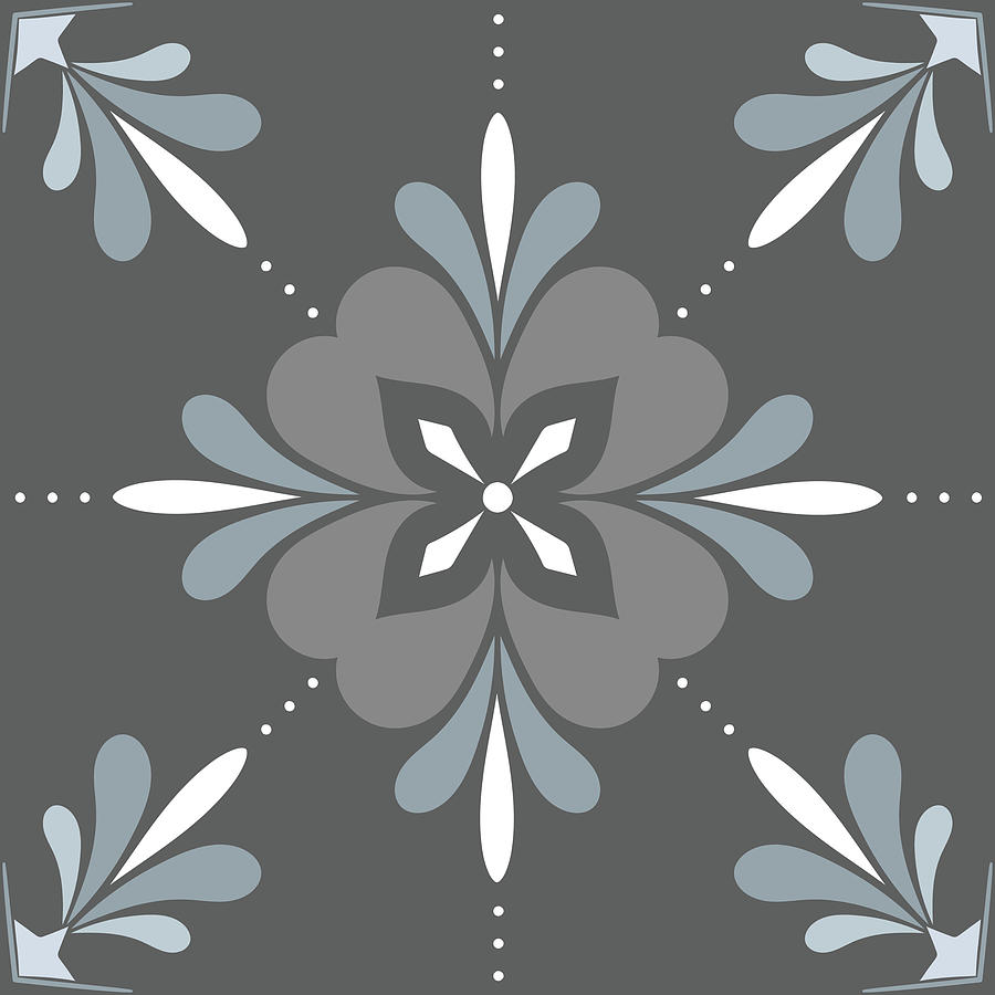 Blue Digital Art - Blue and Gray Moroccan Tile IV by Ink Well