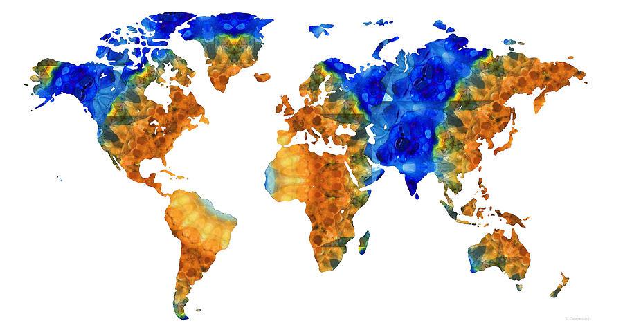Map Painting - Blue and Orange Art - World Map 33 - Sharon Cummings by Sharon Cummings