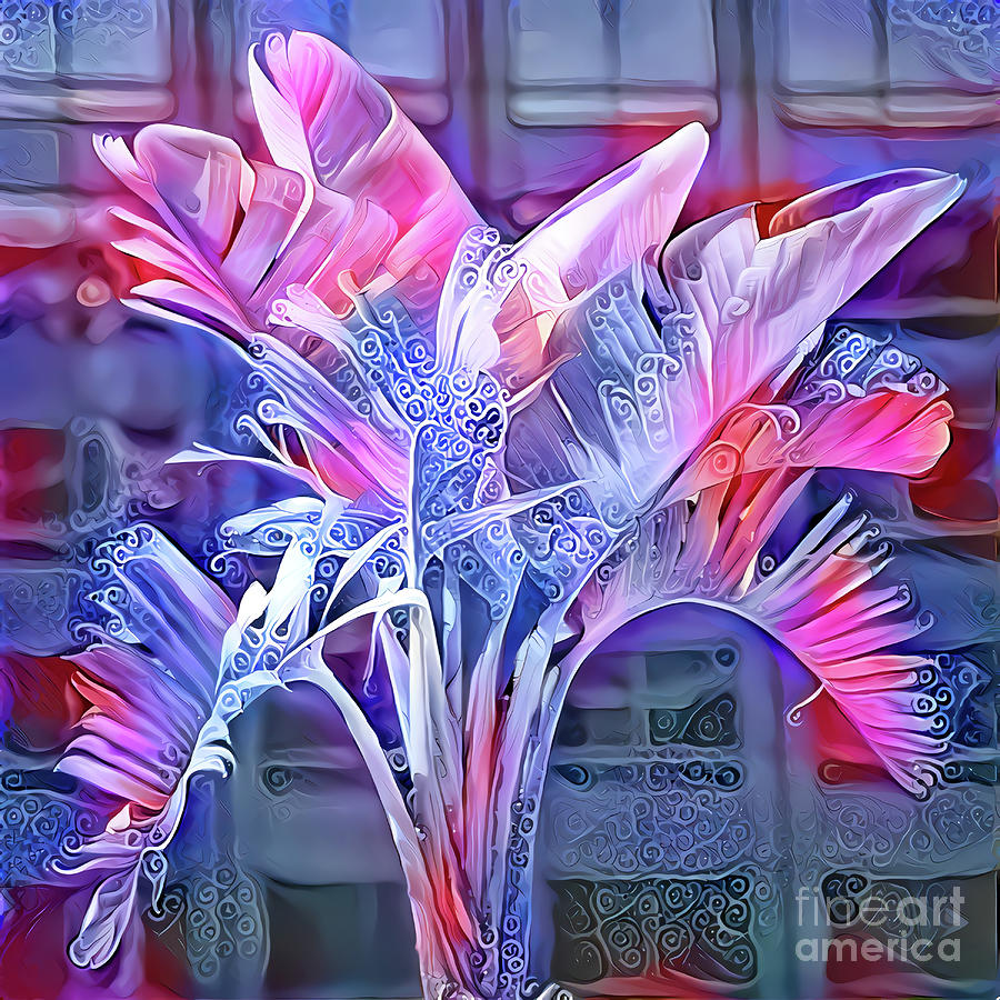 Palm Digital Art - Blue And Pink Fantasy Palm by Elisabeth Lucas