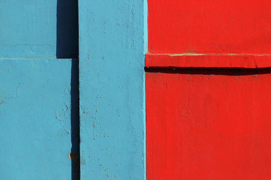 Blue Photograph - Blue and Red Wall - Minimalist Background by Prakash Ghai
