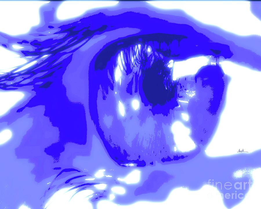 Eyes Painting - Blue and Reflective  by Jack Bunds